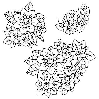 Set di decorazione floreale mehndi in stile etnico orientale, indiano. ornamento doodle. illustrazione di tiraggio della mano di contorno.