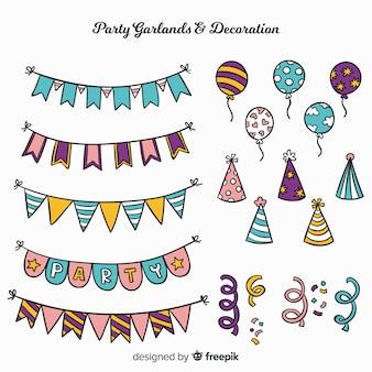 Set di decorazione partito disegnato a mano