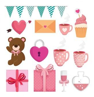 Set di decorazione per felice giorno di san valentino