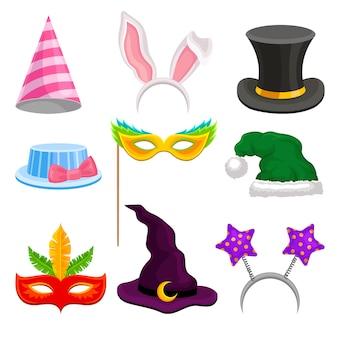 Set di decorazioni per la testa del partito e del travestimento, cappello, maschera, orecchie per la celebrazione delle vacanze illustrazioni su uno sfondo bianco