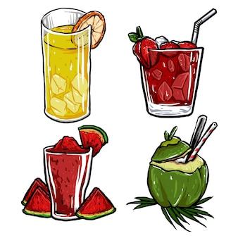 Set di deliziosi frutti freschi di bevande