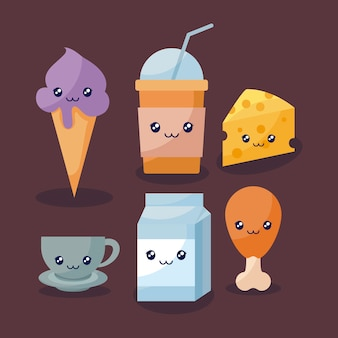 Set di deliziosi gelati e cibo carattere kawaii