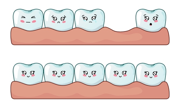 Set di denti kawaii, denti sani e problemi di perdita dei denti