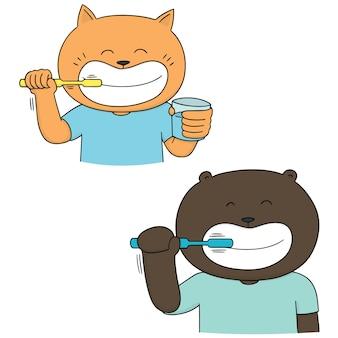 Set di denti per lavarsi gli animali
