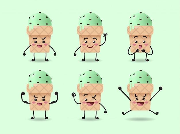 Set di design carino espressione gelato