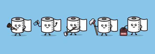 Set di design carino mascotte di carta igienica