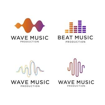 Set di design del logo di musica d'onda