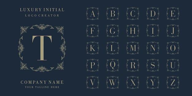 Set di design del logo distintivo iniziale di lusso premium