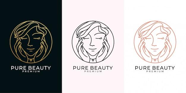 Set di design del logo in stile arte linea di bellezza donna parrucchiere