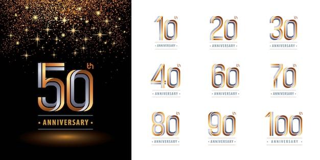 Set di design del logotipo anniversario, celebra il logo dell'anniversario