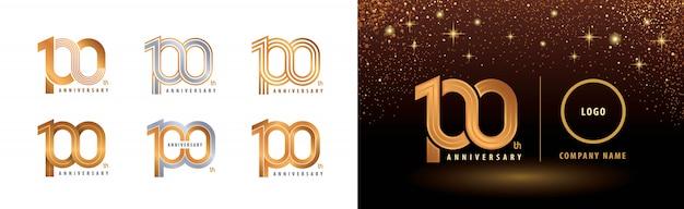 Set di design del logotipo del 100 ° anniversario, celebrazione del centenario