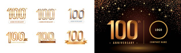 Set di design del logotipo del 100 ° anniversario, cent'anni celebra il logo dell'anniversario