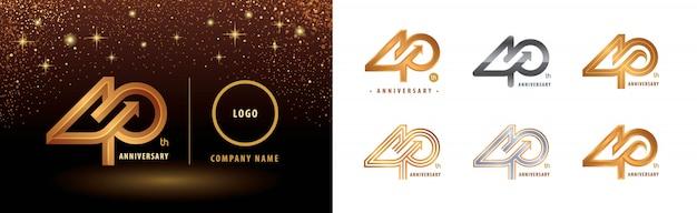 Set di design del logotipo del 40 ° anniversario, quarant'anni di anniversario