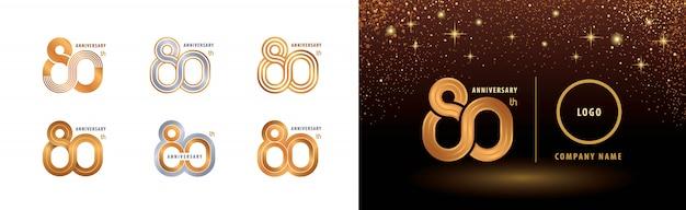 Set di design del logotipo dell'80 ° anniversario, celebrazione di ottant'anni di anniversario