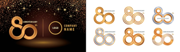 Set di design del logotipo dell'80 ° anniversario