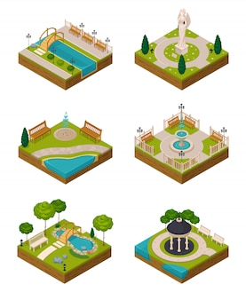Set di design del paesaggio isometrica