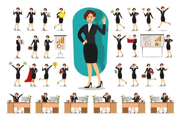 Set di design del personaggio imprenditrice. lavorando in ufficio, posa, appartamento