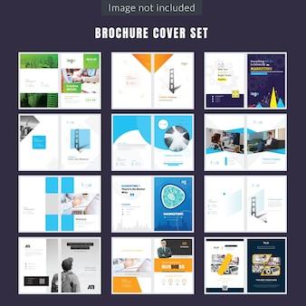 Set di design della pagina di copertina di più brochure