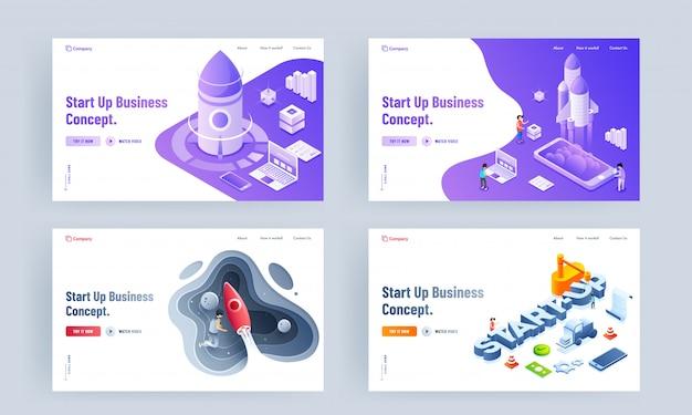 Set di design della pagina di destinazione con piattaforma diversa e lancio di successo di un progetto di razzo per il concetto start up business.