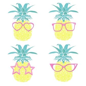 Set di design di ananas con occhiali