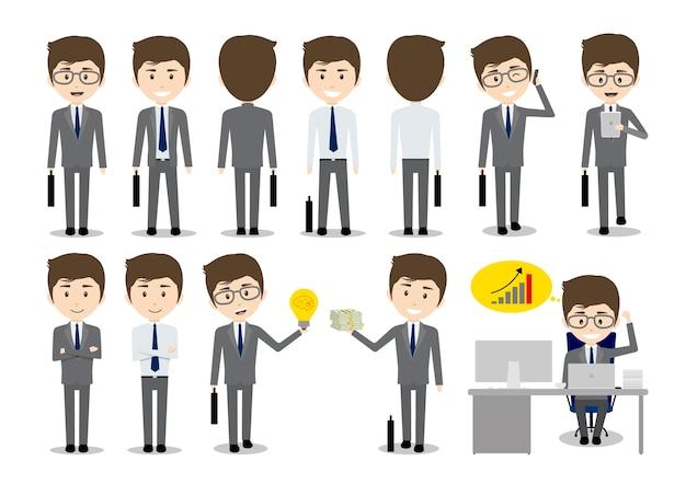 Set di design di carattere uomo d'affari