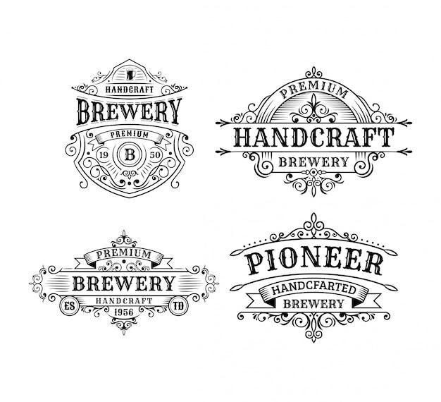Set di design di etichetta vintage birreria, calligrafia e elementi in stile design tipografico