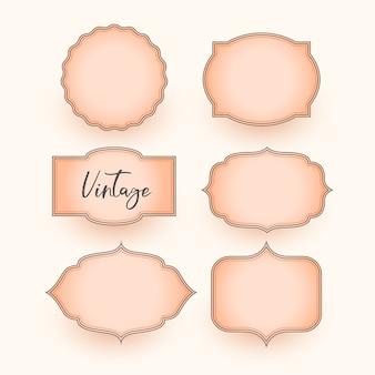 Set di design di etichette di nozze vintage classico