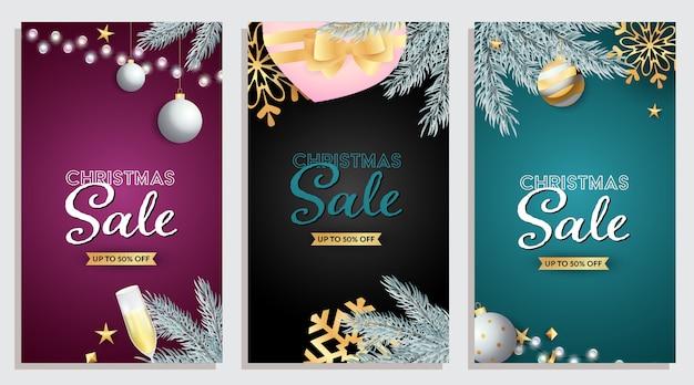 Set di design di vendita di natale