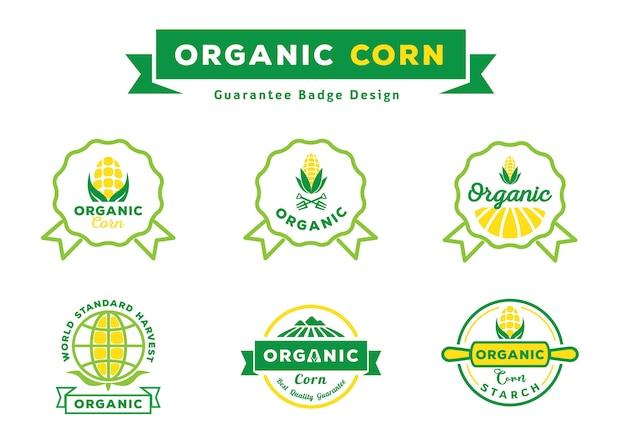 Set di design distintivo di garanzia di mais biologico