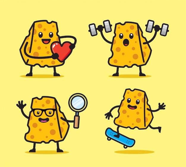 Set di design divertente personaggio di formaggio