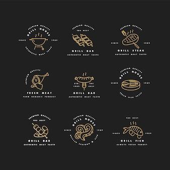 Set di design e modelli di loghi dorati per grill house. emblemi di carne o distintivi di bistecca, salsiccia. pesce e altri tipi di carne.