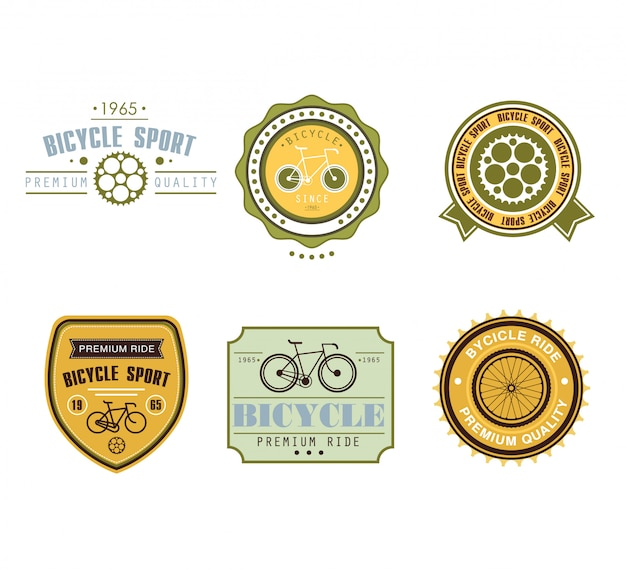 Set di design etichette a tema biciclette tipografiche - negozio di biciclette