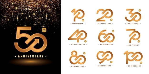 Set di design logotipo anniversario da 10 a 100 anni, logo dell'anniversario degli anni