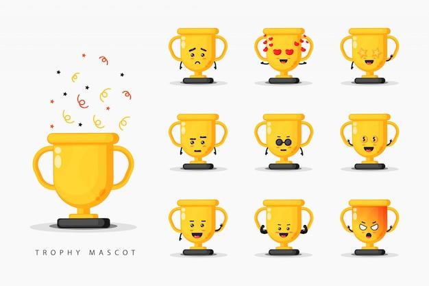 Set di design mascotte trofeo carino