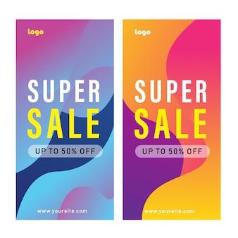 Set di design modello di banner di promozione con sfondo forma geometrica astratta