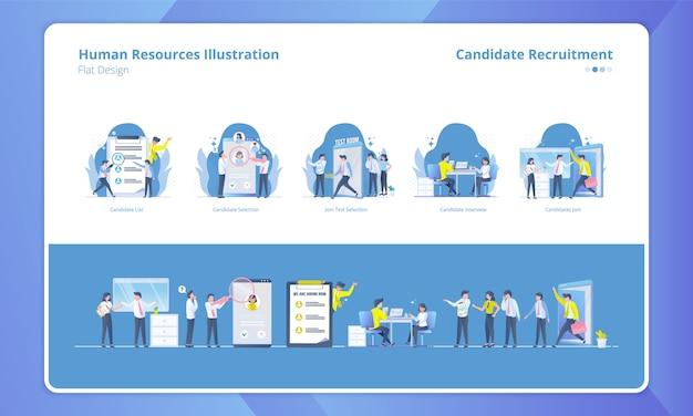 Set di design piatto con tema delle risorse umane, reclutamento di candidati