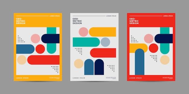 Set di design retrò geometrica copertina