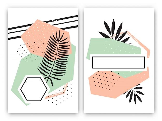 Set di design tropicale di carte esotiche nello stile di memphis