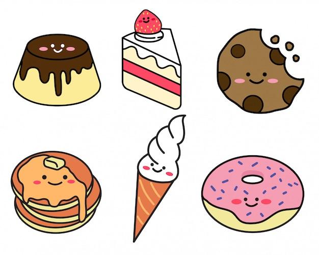 Set di dessert in stile doodle