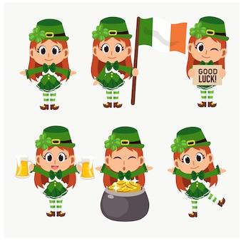 Set di di san patrizio personaggio mascotte simpatico cartone animato.