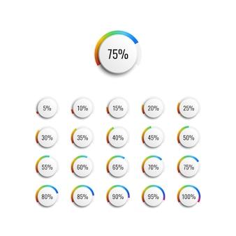 Set di diagrammi percentuali di cerchio con indicatore gradiente arcobaleno e passi del 5%. illustrazione vettoriale per diagrammi infografica