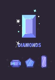 Set di diamanti di diverse forme di taglio. illustrazione vettoriale di diamanti