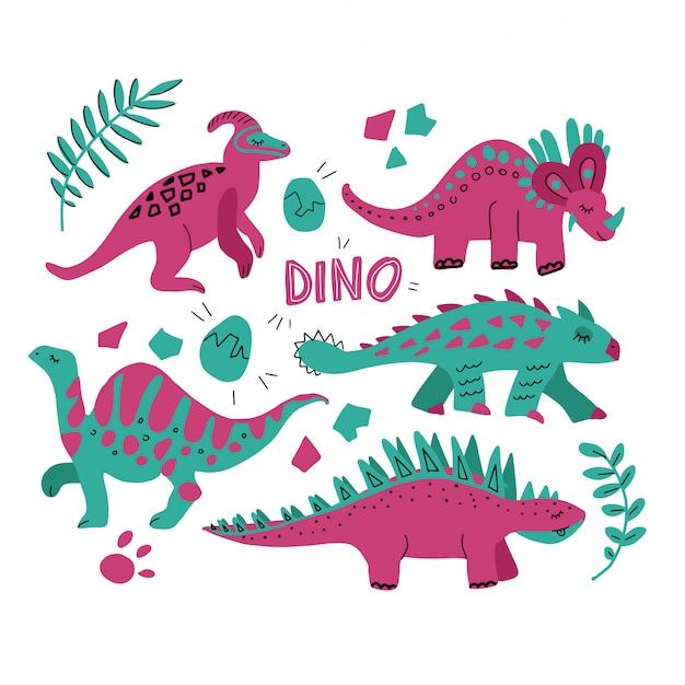 Set di dinosauri disegnati a mano e foglie tropicali. collezione dino simpatico cartone animato divertente. insieme disegnato a mano di vettore per progettazione dei bambini. illustrazione vettoriale triceratopo, ankylosaurus, stegosaurus, parasaurolopus