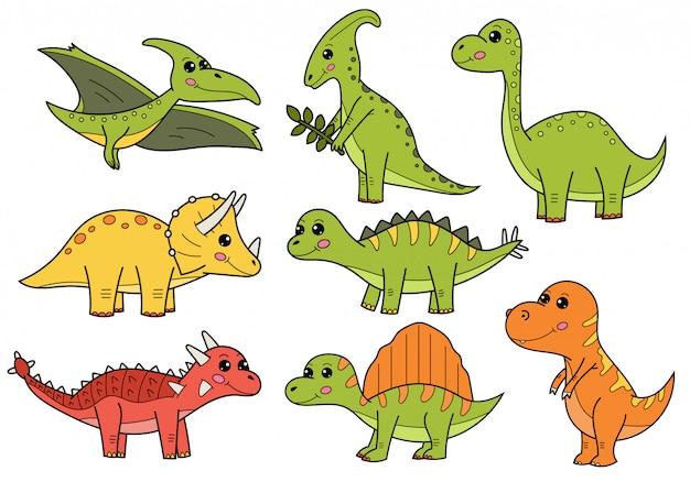 Set di dinosauri simpatico cartone animato.