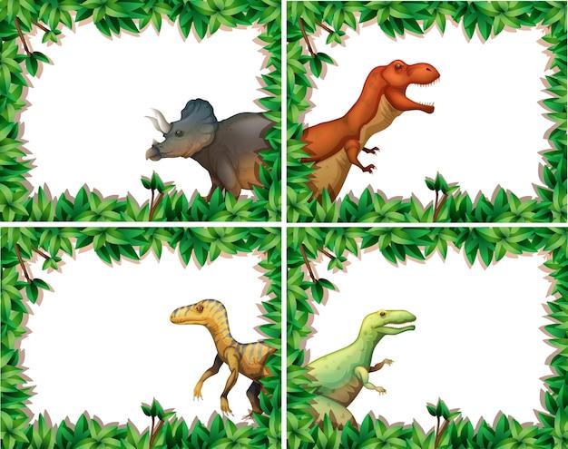 Set di dinosauro nel telaio della natura