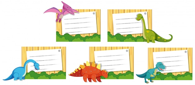 Set di dinosauro sul modello di nota