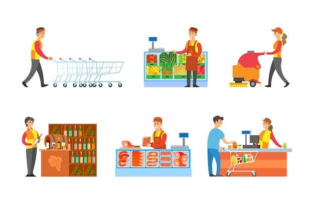 Set di dipartimenti e venditori di supermercati