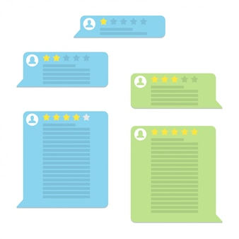 Set di discorsi bolla di valutazione recensione in un design piatto