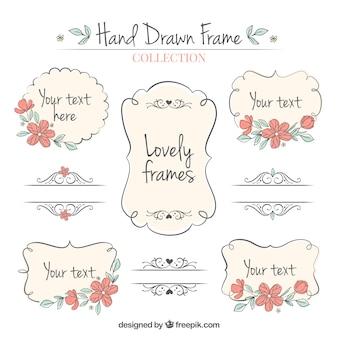 Set di disegnati a mano cornici ornamentali