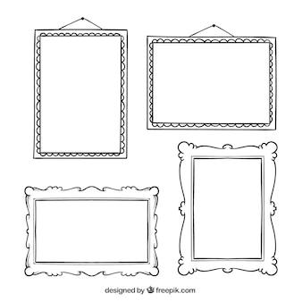 Set di disegnati a mano cornici